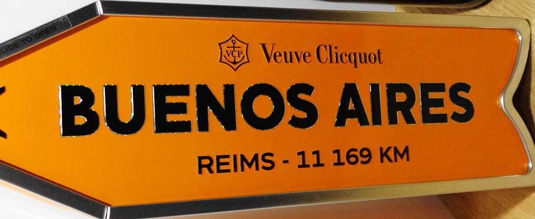 Elegí tu destino con los originales estuches del champagne Veuve Clicquot