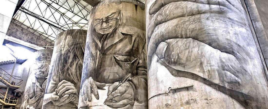 Los murales de Van Helten en los tanques de una bodega